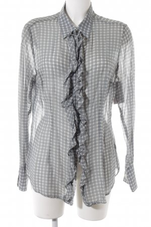 0039 Italy Transparenz-Bluse khaki-wollweiß Karomuster klassischer Stil