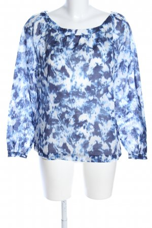 0039 Italy Tuniekblouse wit-blauw abstract patroon casual uitstraling