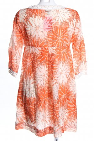 0039 Italy Tunikakleid hellorange-weiß Allover-Druck Casual-Look