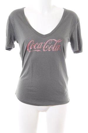 0039 Italy V-Ausschnitt-Shirt hellgrau Schriftzug gedruckt Casual-Look