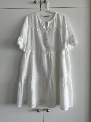 0039 Italy Sukienka z falbanami biały Bawełna