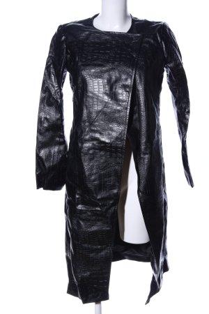 1--01 Babaton Krótki płaszcz czarny Zwierzęcy wzór Ekstrawagancki styl