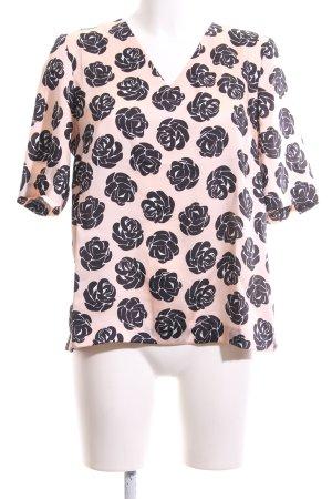 1.2.3 Paris Blouse met korte mouwen roze-zwart volledige print