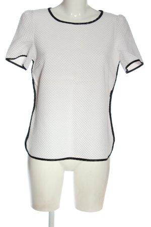 1.2.3 Paris Blouse met korte mouwen wit-zwart casual uitstraling