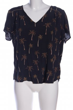 1.2.3 Paris Kurzarm-Bluse schwarz-braun abstraktes Muster Casual-Look