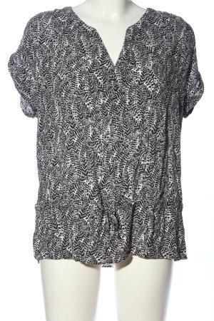1.2.3 Paris Kurzarm-Bluse schwarz-weiß Allover-Druck Casual-Look
