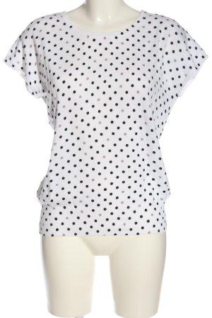 1.2.3 Paris Kurzarmpullover weiß-schwarz Punktemuster Casual-Look