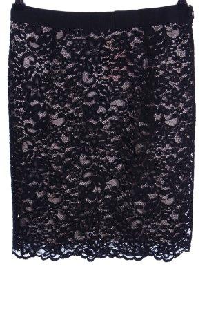 1.2.3 Paris Falda de encaje negro-crema estampado floral elegante