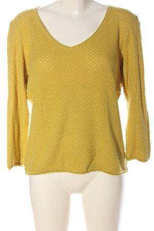 1.2.3 Paris V-Ausschnitt-Pullover blassgelb Allover-Druck Casual-Look