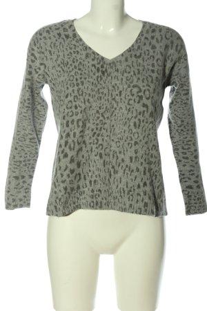 1.2.3 Paris V-Neck Sweater light grey-brown animal pattern casual look