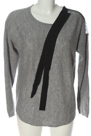 1.2.3 Paris Pull en laine gris clair-noir moucheté style décontracté
