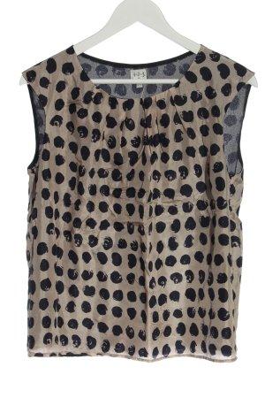 1.2.3. UN DEUX TROIS Paris Mouwloze blouse wolwit-zwart volledige print