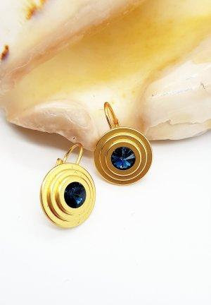 Boucles d'oreille en or doré-bleu