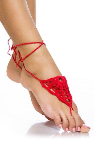 1 Paar Häkelgamaschen/Zehen-/Fuß-Dekor - Red/Rot - OneSize
