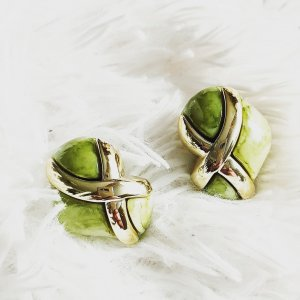 Oorclips goud-grijs-groen