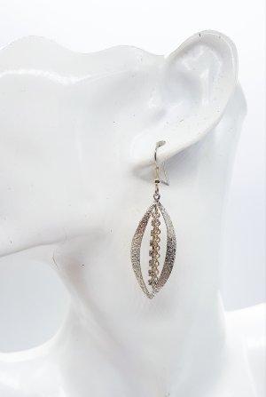 1 Paar silberne Ohrringe mit Strass,Steinchen