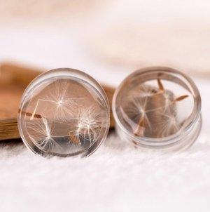 1 Paar Tunnels Plugs Piercing Ohr Körperschmuck, Acryl mit Löwenzahn Samen (innen) / NEU & OVP
