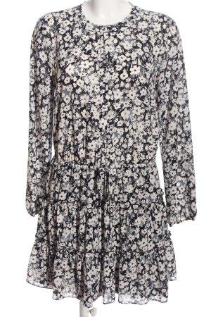 1. state Robe chemisier noir-blanc motif de fleur style décontracté