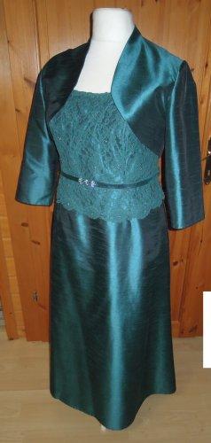 1 x getragen: langes Abendkleid mit Bolero grün Spitze A-Linie FUCHS Gr. 48 50 aus Brautmodengeschäft breite Träger