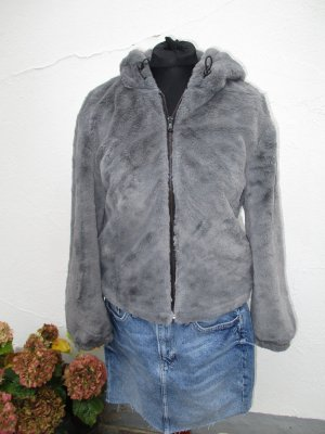 1 x getragen - Zara Felljacke mit Kapuze grau -