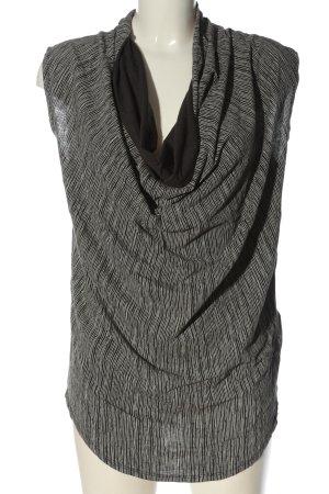 10 Days Mouwloze blouse zwart-wolwit gestreept patroon casual uitstraling