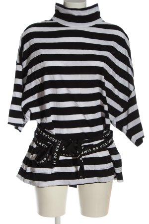 10 Days T-shirt rayé noir-blanc imprimé allover style décontracté
