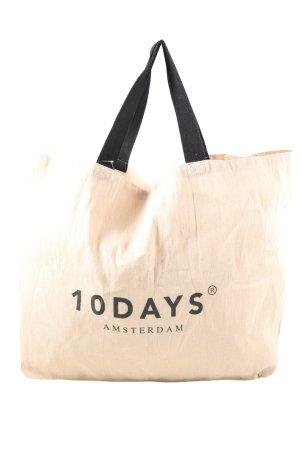 10 Days Bolso de tela nude-negro letras impresas look casual