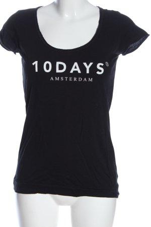 10 Days Camiseta negro letras impresas look casual