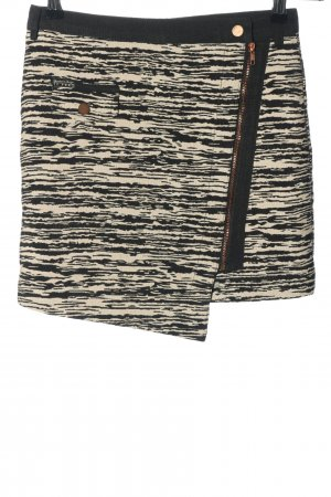 10 FEET Mini-jupe crème-noir motif rayé style décontracté