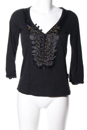 10 FEET T-shirt col en V noir style décontracté