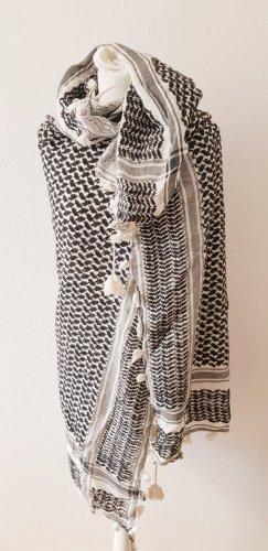 Bufanda de lana blanco-negro
