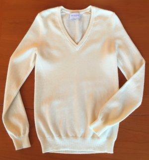 100% Cashmere Luxus Pullover von Eric Bompard in creme beige, Gr S (auch XS M) V-Neck