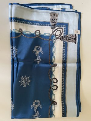 Écharpe en soie bleu acier-blanc soie