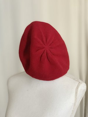 Beret brick red cashmere