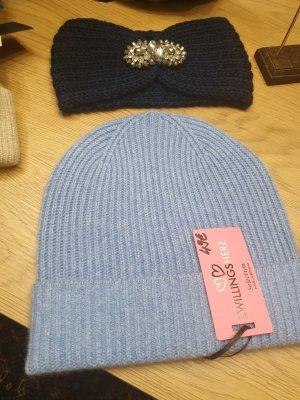 Zwillingsherz Chapeau en tricot bleu azur