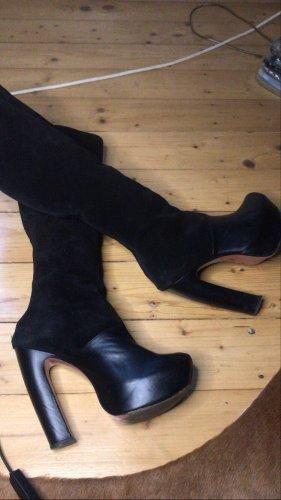 100% Leder Wild leder Plateau high heels Stiefel Boots 38 schwarz