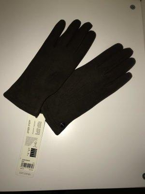 Esprit Leren handschoenen donkerbruin Leer