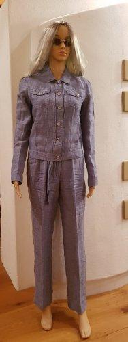 Tailleur pantalone azzurro-azzurro Lino