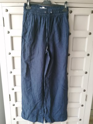 H&M Basic Pantalon en lin bleu foncé