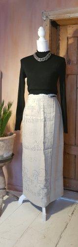 Country Line Maxi Skirt light grey-oatmeal linen