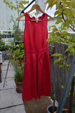 100% Leinen- Trägerkleid in purpur, rückenfrei- im Rücken binden, Gr.S