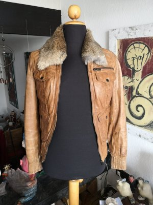 100 % Maze Leder Jacke Used Look Fell Kragen