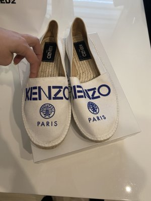 Kenzo Espadrille Sandals blue-white cotton