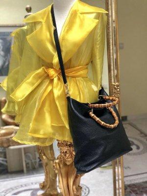 100% Originale Gucci Bamboo Leder Tasche, in Farbe Schwarz
