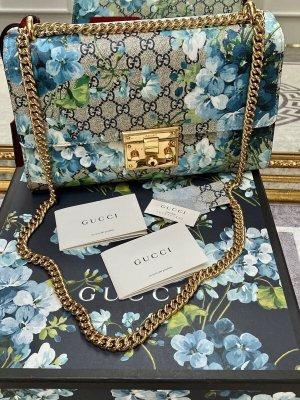 100% Originale Gucci Padlock Tasche, Schultertasche aus Monogram Bloom