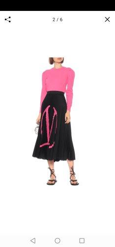 C. Valentino Plisowana spódnica czarny-różowy neonowy