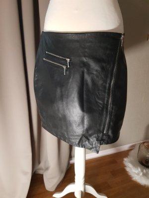 Promod Falda de cuero negro Cuero