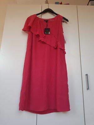 100% Seide/silk  Himbeerrot sommer kleid mit Rüschen Gr L massimo dutti