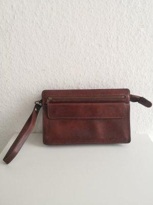 100 % True Vintage Leder Clutch Handgelenk Tasche