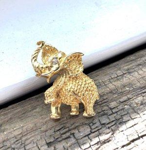 100% Vintage Designer 70er Jahre Couture Brosche gold Elephant